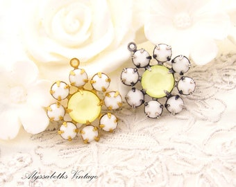 Vintage Chalk White & Matte Yellow Swarovski Rhinestone Daisy Flower Charm Pendant 1 Ring Silver Ox or Brass Setting 19mm Round - 1