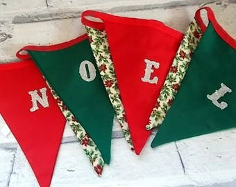Handmade Fabric Christmas Bunting, Noel Fabric Bunting, Red and Green Fabric Bunting, Christmas Banner, Holiday Banner, Holiday Bunting