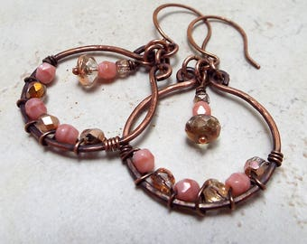 Copper Wire Wrapped Dangle Earrings Pink Czech Glass