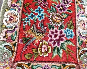 Vintage Rug - Small Carpet - Oriental Rug - Hand Knotted - Wool Pile with Silk - Cotton Fringe - Floral Pattern - Bird Motif - Red and Green
