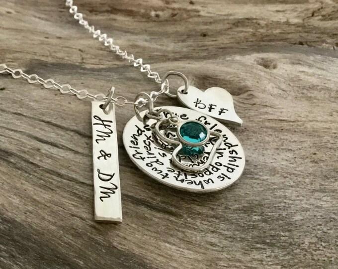 Best Friend Necklace   Best friend long distance necklace Unique Friendship Gifts  Friendship Jewelry Personalized Necklace  Sterling Silver