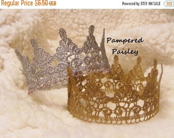 Birthday sale Lace Crowns, Crown Cake Topper, Birthday Crown, Newborn Crown, boy crown, girl crown, Photo Prop Crown, Baby Lace Crown