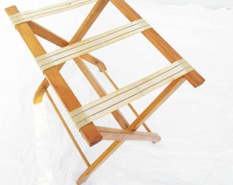 Folding Rack - Vintage Suitcase Rack - Wood Folding Stand - Woven Cotton With Blue Straps - Rack - Multi-purpose - Easy Carry and Storage