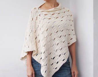 Crochet Pattern Wink poncho, woman wrap beach cover up women shawl, DIY photo tutorial, Instant download