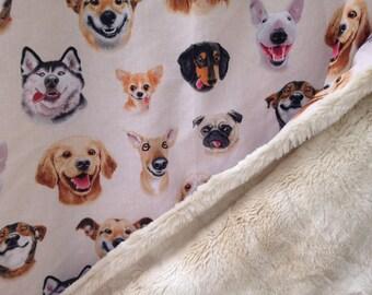 Dog baby blanket - Dog Selfies faux fur baby blanky - beige minky baby cuddle blankie - crib or stroller blanket - 34 by 34 inch