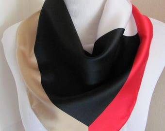 "Scarf Black Red Cajon Soft Poly Scarf 21"" Square - Affordable Scarves!!!"