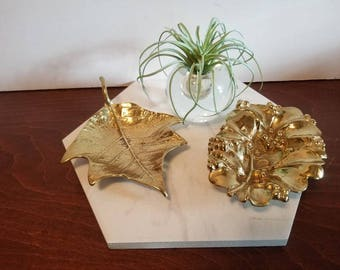 Two Virginia Metalcrafters Brass Leaf Dishes - Poinsettia & Mistletoe
