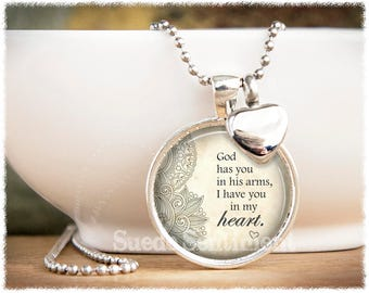 God Has You In His Arms • Cremation Jewelry • Urn Necklace • Memorial Necklace • Loss of Loved One • Miscarriage