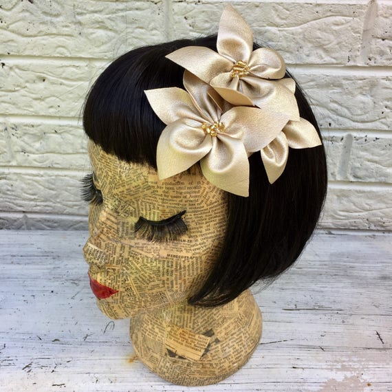 Gild Metallic Faux Leather Flower Hair Clip Pinup Inspired