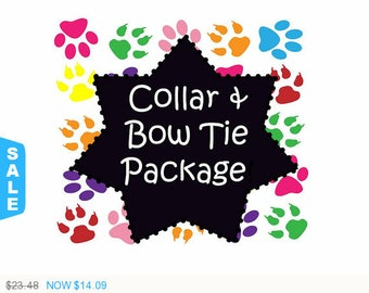 Sale - 40% Off Collar and Bow-Tie Package!, Dog Collar Set, Dog Bow-Tie Set - Available in all Dog Collar Listings -