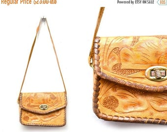 ON SALE 70s Tooled Leather Mini Purse Floral Small Kids