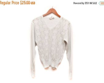 ON SALE 80s Silver Sparkly Pullover Sweater Long Sleeved Women's Medium