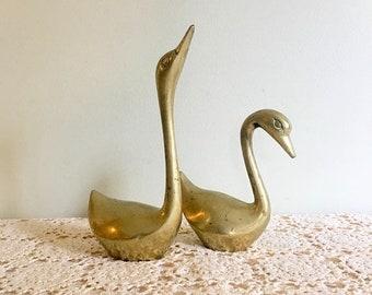 17% OFF SALE 2  Large Brass Swans/Pair of Water Birds/Mid Century Decor/Made in Korea/Solid Brass Figurines/MCM Brass Birds/Brass Bird Set/8