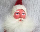 Antique Santa Claus figurine belsnickel, paper mache, wood block, wool felt, probable German, rabbit fur beard
