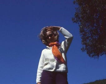 35mm Technicolor Slide: Woman in Orange Scarf, c1960s-70s Vintage Snapshot Photo (51014/2)