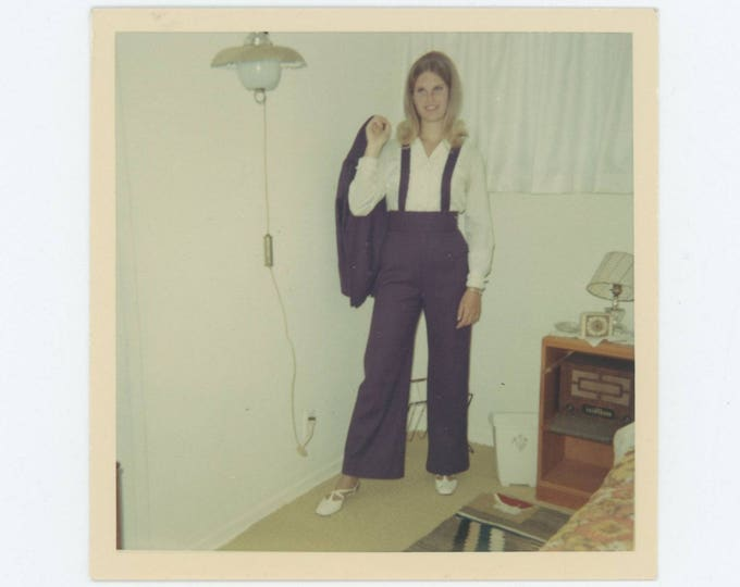 Vintage Photo Snapshot: Purple Pant Suit, 1970s (75585)