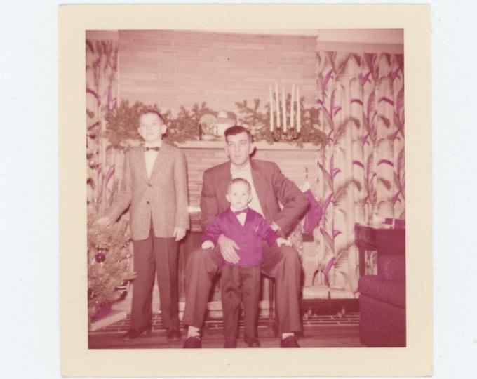 1957 Kodacolor Print Vintage Snapshot Photo: My Two Sons (78599)