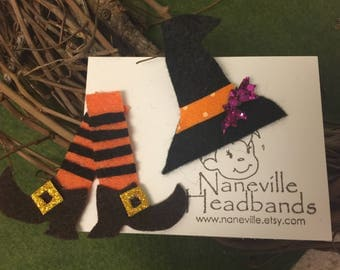 Halloween spooktacular, felt clips Witch  shoes and hat