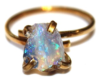 Medium Opal Ring Jelly Opal  Fire Opal Ring Natural Opal Jewelry Ethiopian Opal Welo Opal Gold Opal Ring Adjustable Ring Small Opal