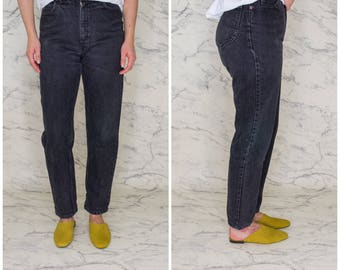Lee black high waisted mom jeans | Black faded jeans | 90s women's jeans