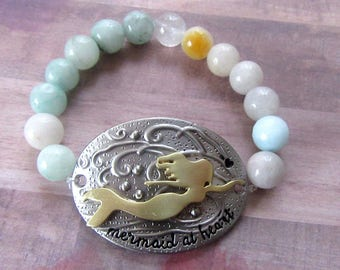 Mermaid at Heart 3D Beaded Stretch Bracelet with Agate Beachy Beads