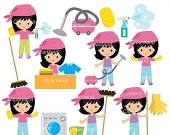 ON SALE INSTANT Download. Ccl_2_cleaning. Girl cleaning clip art. Personal and commercial use.