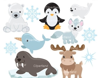 ON SALE INSTANT Download. Arctic animals clip art. Caa_2. Personal and commercial use.