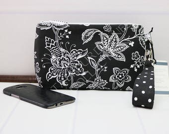 Floral Wristlet - Iphone8 Wristlet - Cellphone Clutch - Smartphone Wallet - Zipper Phone Purse - Wallet for Iphone - Gift for Her