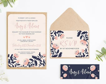 Blush and Navy Floral Wedding Invitation Bundle