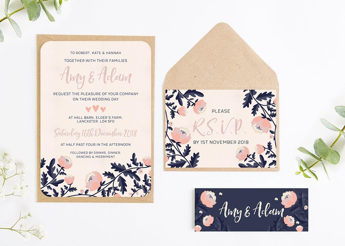 Navy Wedding Invitations: Blush And Navy Floral Wedding Invitation Bundle