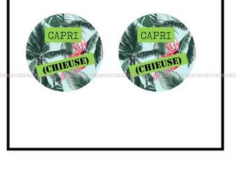 """2 cabochons glass, """"Capri (bitch)!"""""""