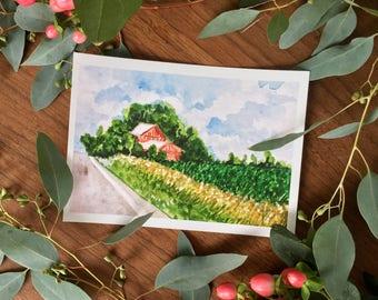 Red Barn Watercolor Print