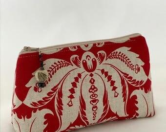Red and Natural Linen blend zippered bag