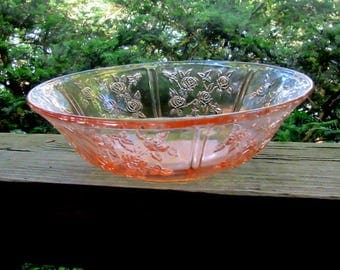 depression glass cabbage rose sharon pink glass serving bowl