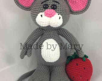 PDF Pattern: Mouse with Strawberry **Crochet pattern only, not actual doll!**