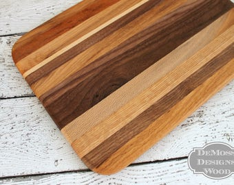 Wood Cutting Board, Handmade with 5 Wood Varieties, Bar Cutting Board, Fruit Cutting Board, Wooden Board, Urban Harvested Cutting Board