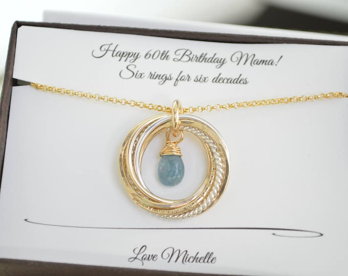 60th Birthday gift for mom, 6 Mixed metals rings, Aquamarine birthstone necklace, March birthstone necklace, 60th Birthday gift for women