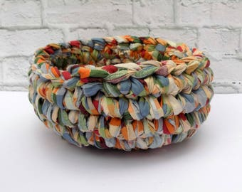Cloth Bowl - Unbreakable Container - Crochet Basket - Catchall - Country Decor - Decorative Fruit Basket - Cotton - Upcycled Reclaimed