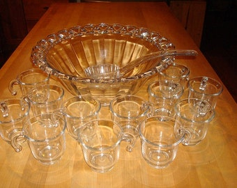 Rare Vintage Imperial Open Lace Pattern Crystal (heavy glass) Punch Bowl Set 14 Pieces
