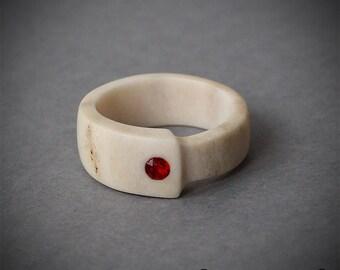 Size 7 US, Antler ring, Inlaid Swarovski crystal, Antler jewelry, Red ring, Red stone ring, Red jewelry, Bone ring, Bone carving, Band