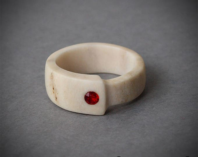 Featured listing image: Size 7 US, Antler ring, Inlaid Swarovski crystal, Antler jewelry, Red ring, Red stone ring, Red jewelry, Bone ring, Bone carving, Band