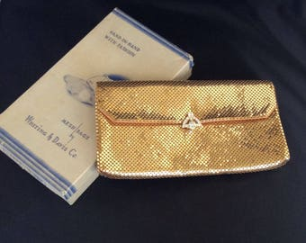 Stunning Whiting and Davis gold mesh clutch with rhinestone clasp