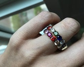 Rainbow gemstone stack ring  (one ring) sterling and vermeil