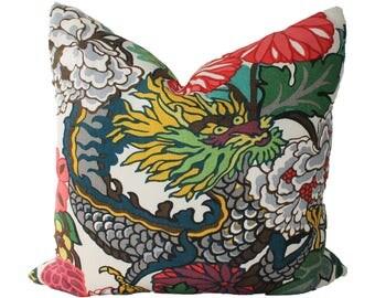 Decorative Designer Chiang Mai Dragon Schumacher Alabaster, 18x18, 20x20, 22x22  Throw Pillows