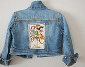 Girl's Hand Embroidered Tattered Size 5 Jean Jacket
