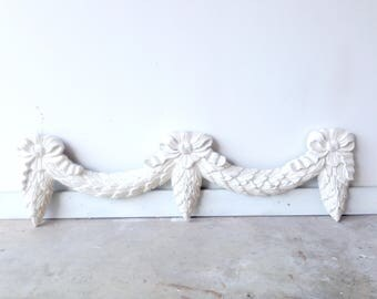Vintage Architectural Swag Garland White Painted Shabby Chic Door Detail