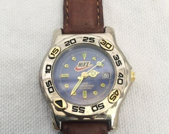 vintage nike air watch water resistant leather band 90s