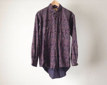PAISLEY 90s versace style baroque style FLOWING button down shirt