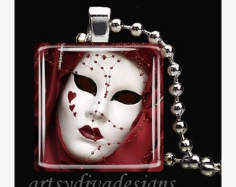 10% OFF JUNE SALE : Ornate Theater Mask Theatre Hearts Drama Mardi Gras Glass Tile Pendant Necklace Keyring design 2