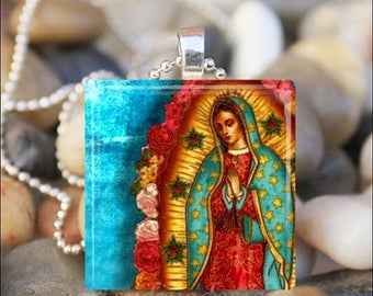 10% OFF JUNE SALE : Virgin Of Guadalupe Our Lady of Guadalupe Virgin Mary Catholic Religious Glass Tile Pendant Necklace Keyring